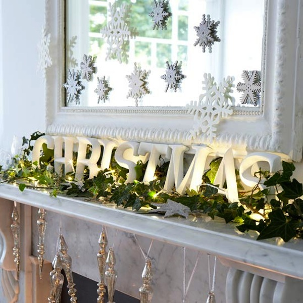 Fireplace Mantel Home Decoration Idea in Christmas Festivals
