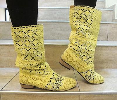 Плетена дантела - жълти летни ботуши