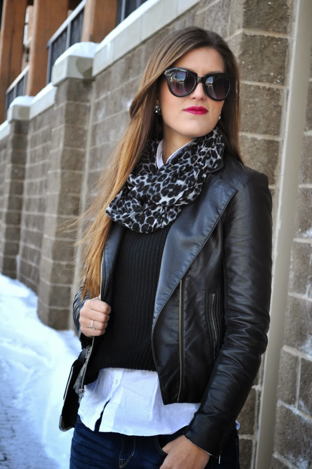 Express gray leopard scarf, minus the leather jacket, sweater