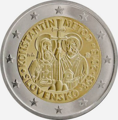 2 Euro Commemorative Coins Slovakia 2013, Mission of Constantine and Methodius to the Great Moravia