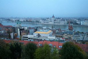 The view of the Danube from Buda Castle in Hungary