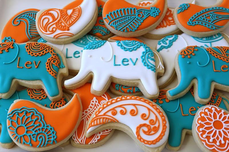 henna elephant cookies
