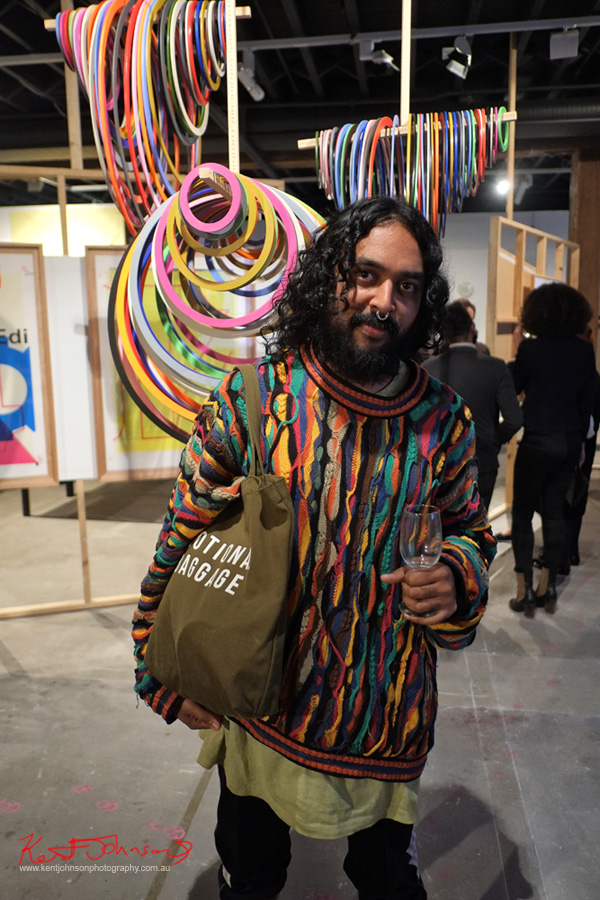 Men's style - Artist Ramesh Mario Nithiyendran in a Coogi / Coogee jumper; photography by Kent Johnson, Fuji X-pro1.