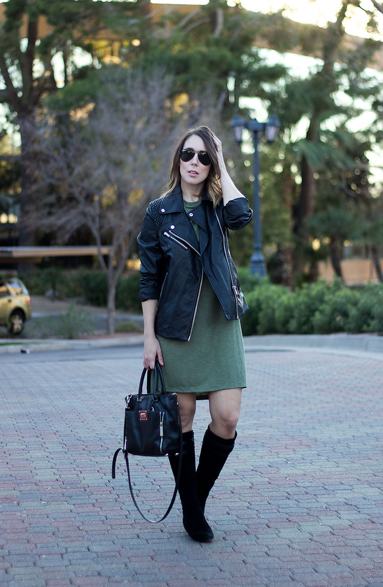green and black shirt dress