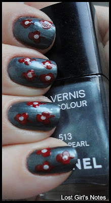 red flower nail art manicure