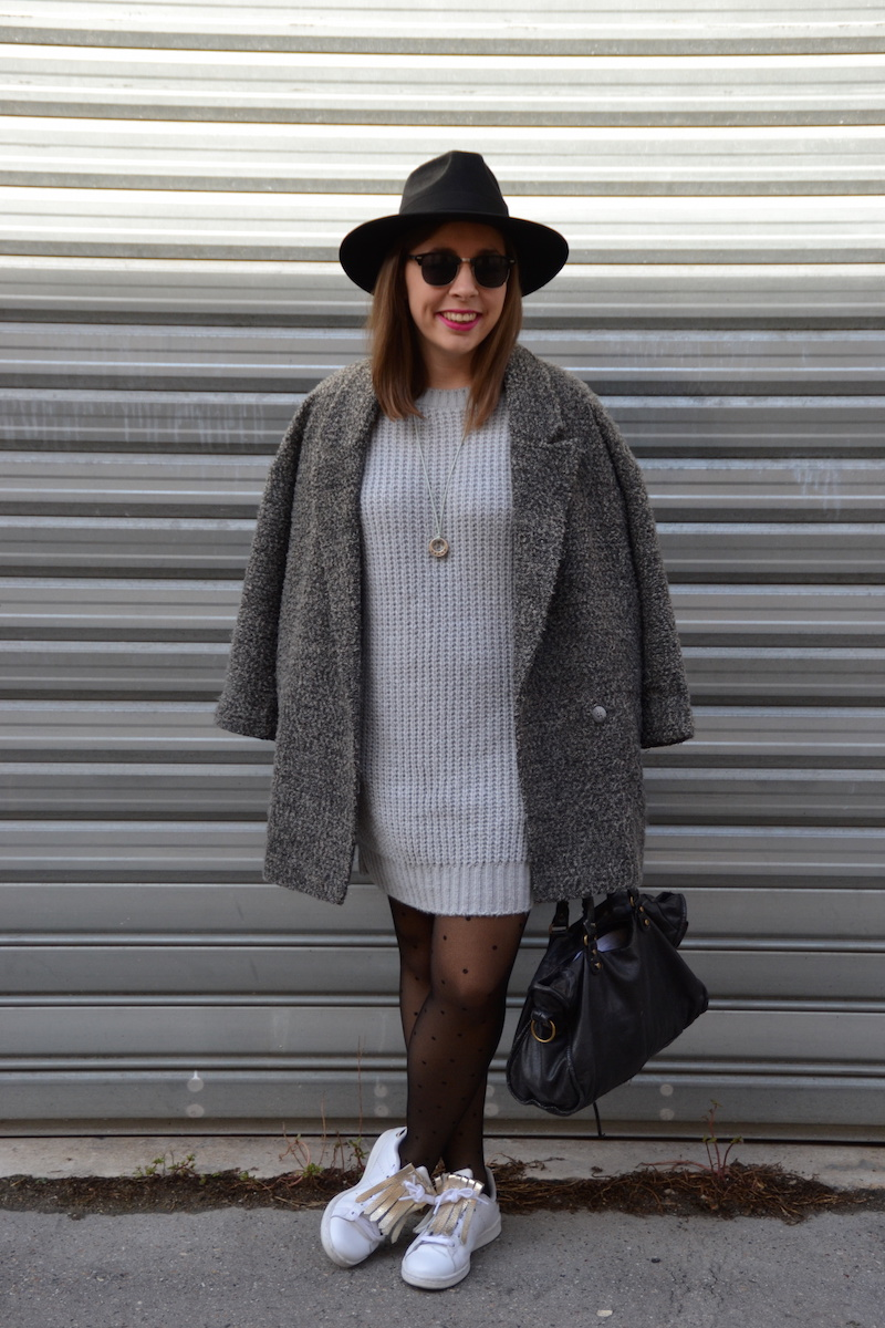 Look robe grise hiver