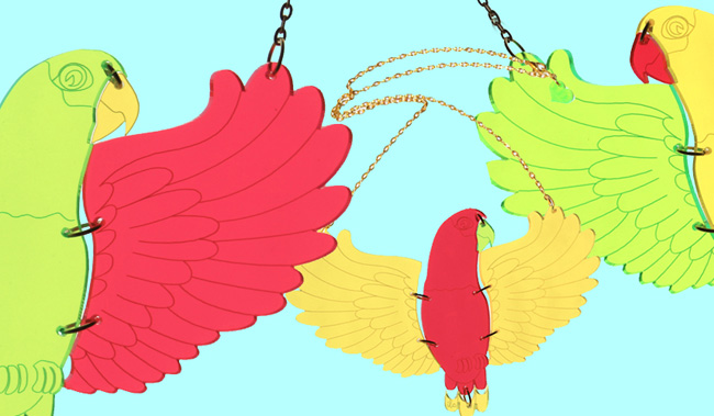 I love crafty, tropical necklace, parrot