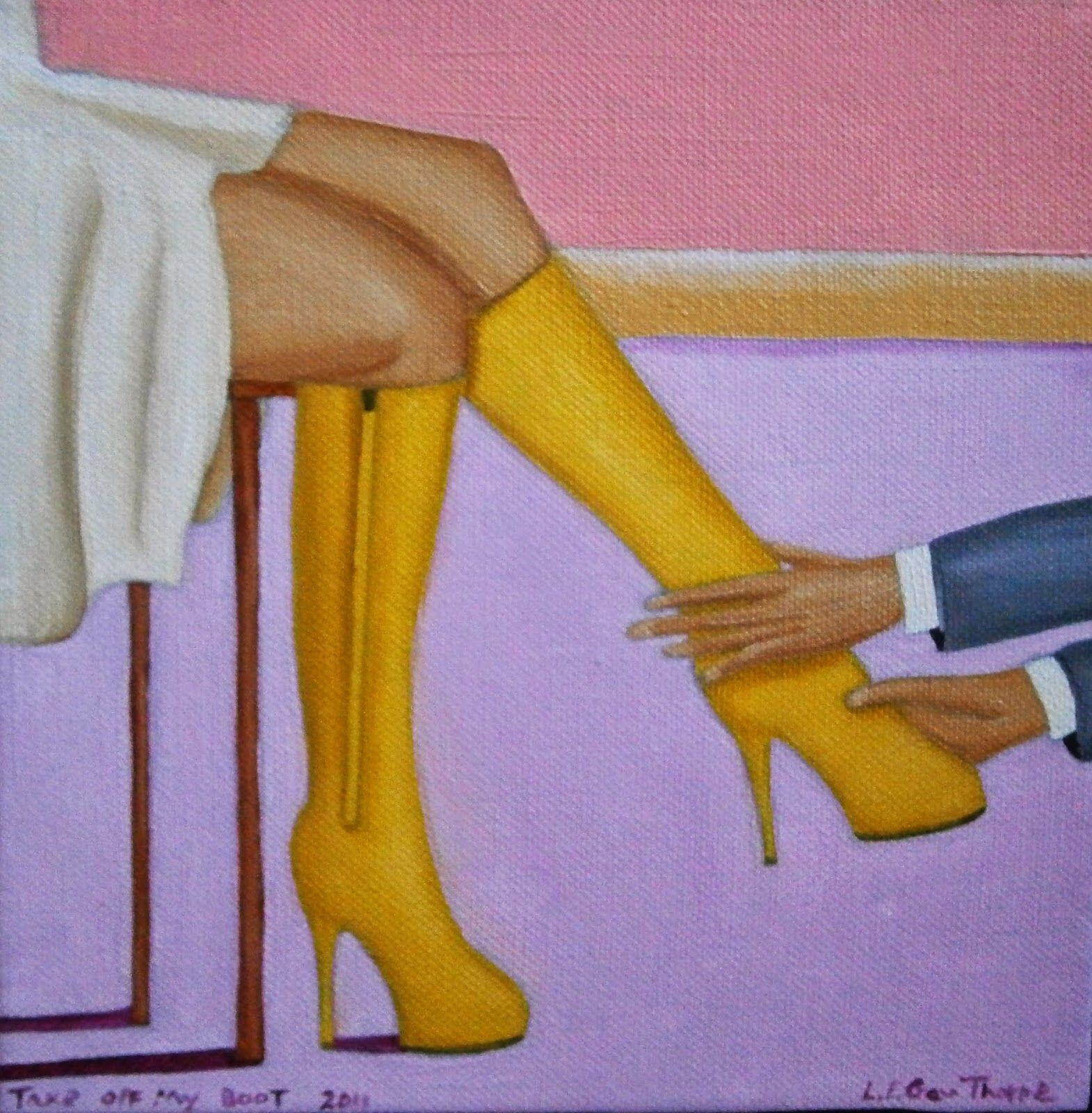 A man being ordered by a woman to take off her yellow kinky boot.