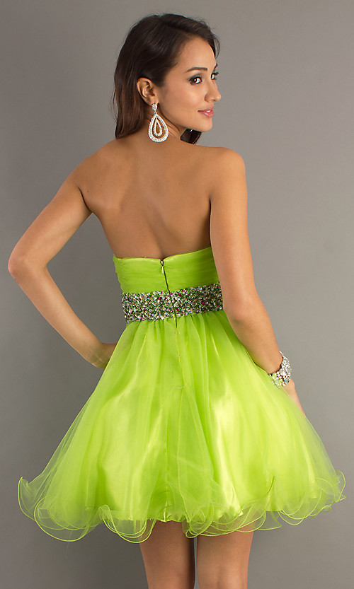 Short Lime Green Prom Dresses - Evening Wear