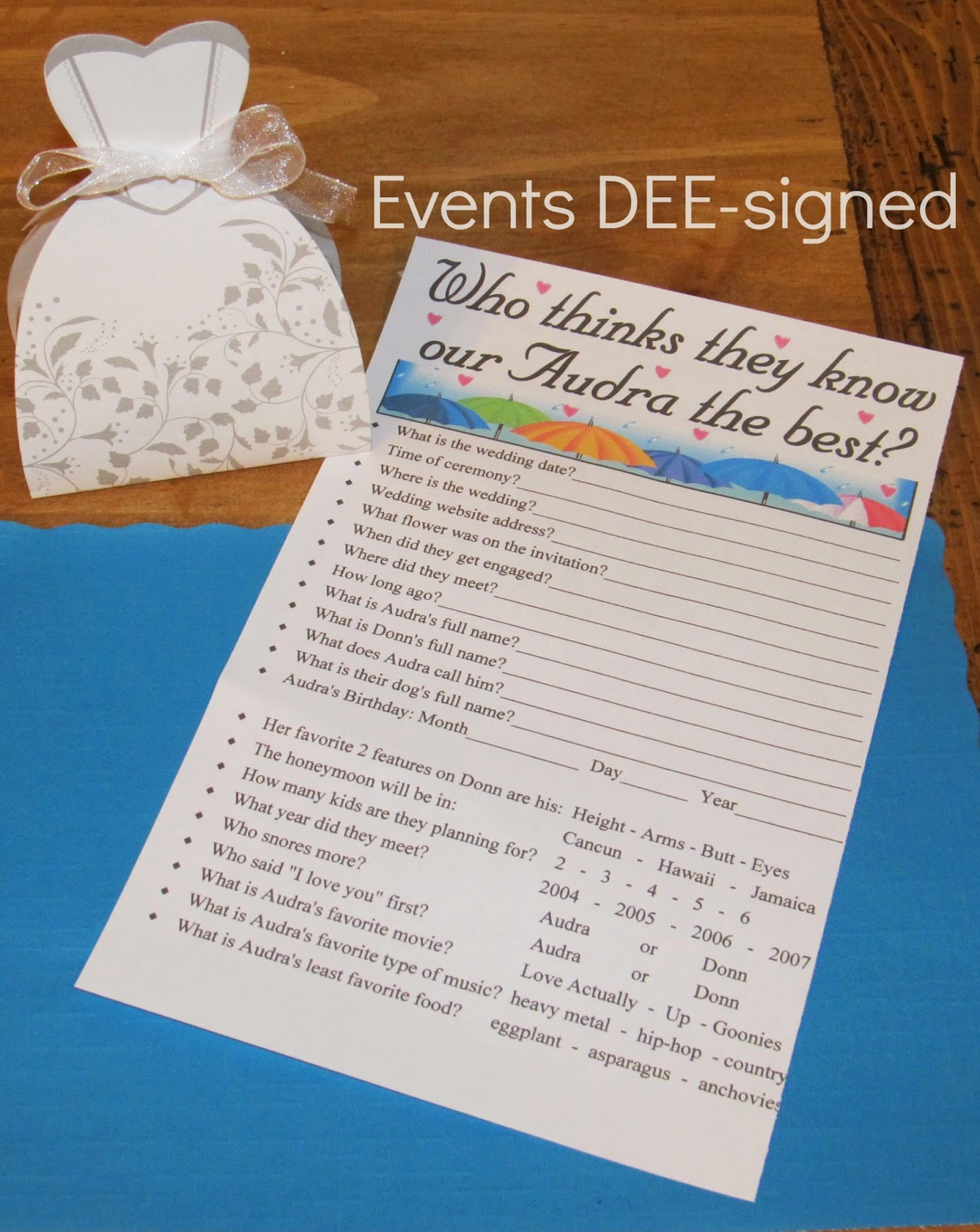 EventsDEE-signed bridal shower game wedding planning