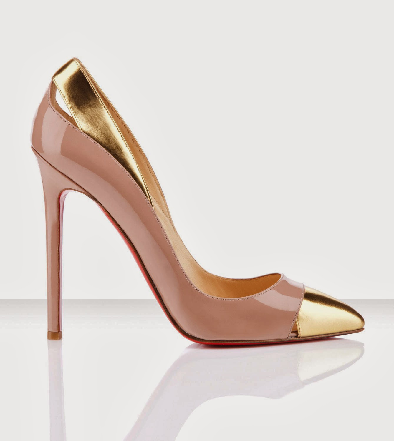 Gold Trim Light Pink High Heels Pointy Toe Shoes