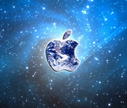 cool apple logos in space. apple is king of the world. cool logos in space r