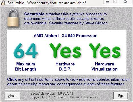 SecurAble檢測你的CPU是否符合Virtualization或Hyper-V