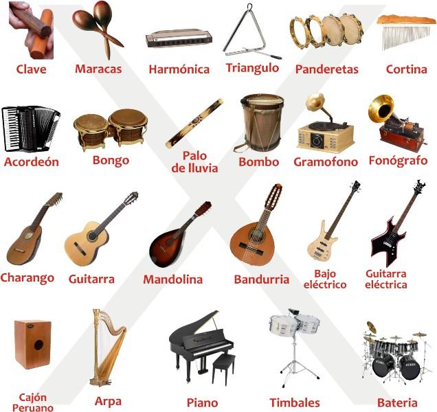 Dibujos de instrumentos musicales y sus nombres - Imagui