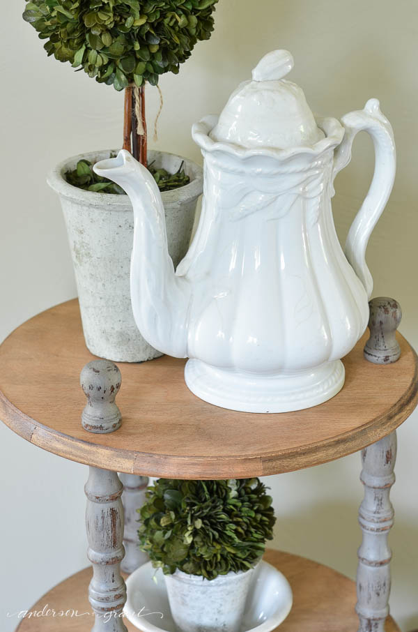 Vintage ironstone teapot displayed with a boxwood topiary. Beautiful and simple display.  {anderson + grant}