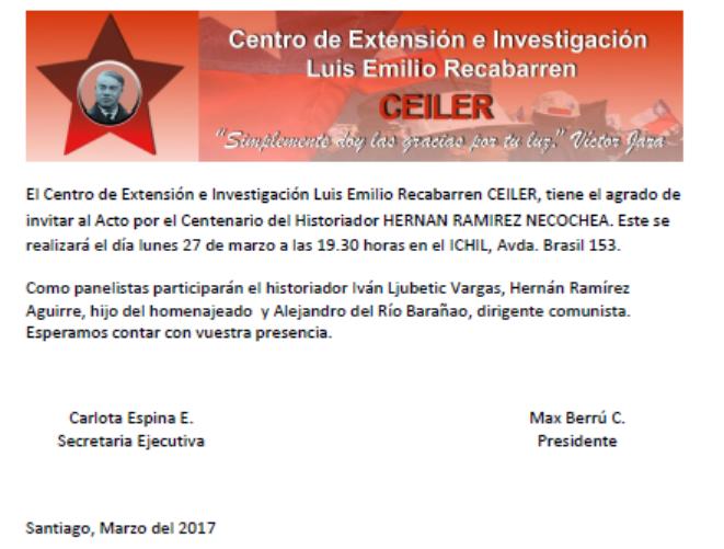INVITACION CENTENARIO HERNAN RAMIREZ NECOCHEA