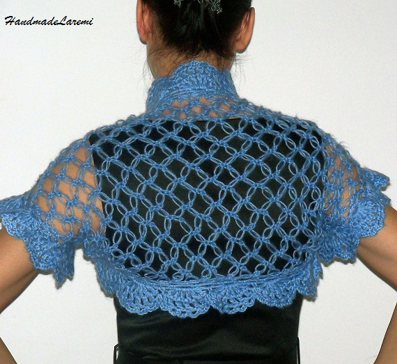 Crochet Shrug : Shrug/ Bolero Shrug/ Crochet Shrug/ Light Blue Shrug/ Crochet Bolero ...