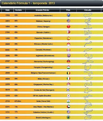 Calendário Fórmula 1 - 2013