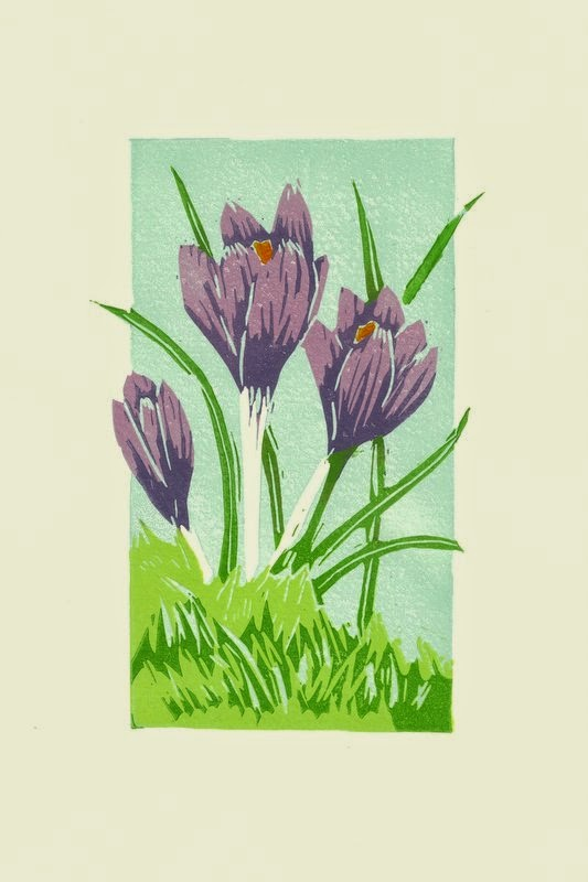 A reduction linocut of crocuses