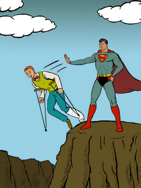 Superman pushes Jimmy Olsen off cliff