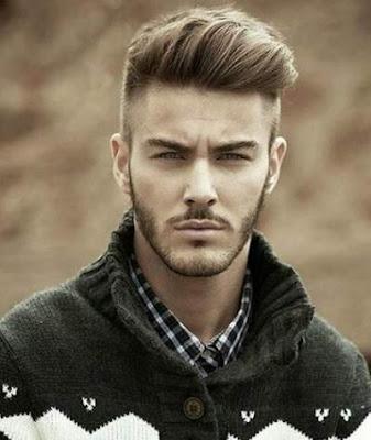 gaya potongan rambut side shaved pria berjanggut