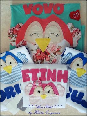 aplicações-customização-em camisas-coruja-em feltro-vovó coruja-netinho coruja-netinha coruja