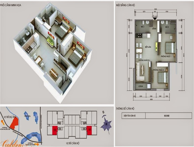 Căn số 2 - 9 DT 65,9m2. Golden Central Tower - Vinaconex 2