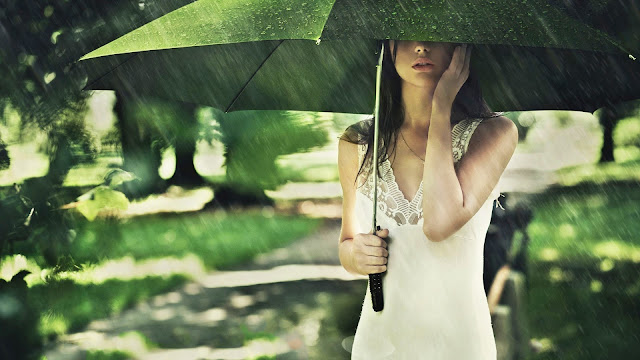 Girl Under Umbrella HD Wallpaper