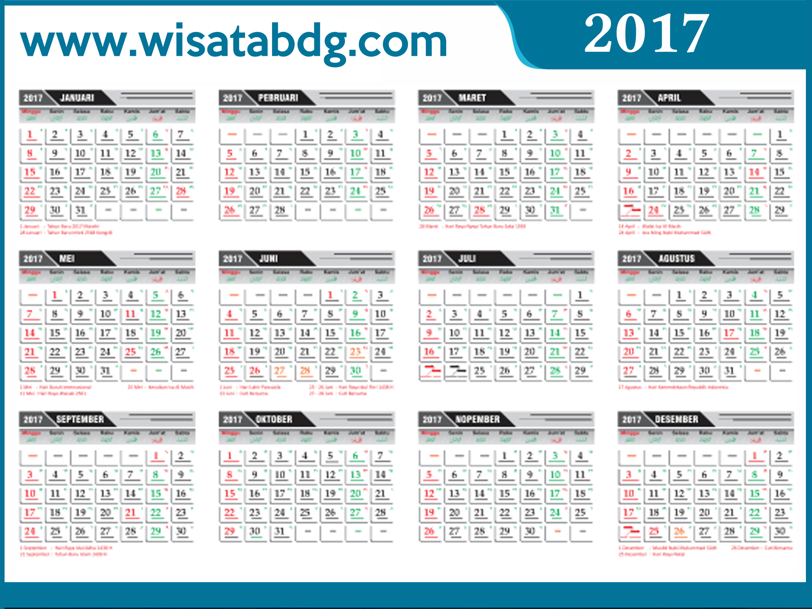 Download kalender 2013 indonesia per bulan