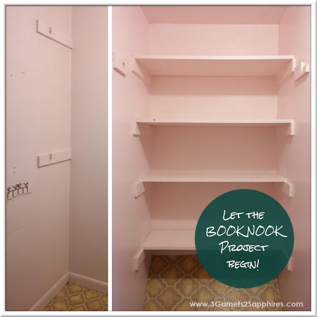 DIY Closet Book Nook Project  |  www.3Garnets2Sapphires.com