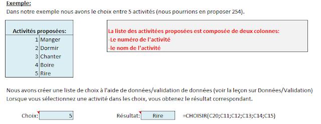 Fonction d'Excel - Choisir