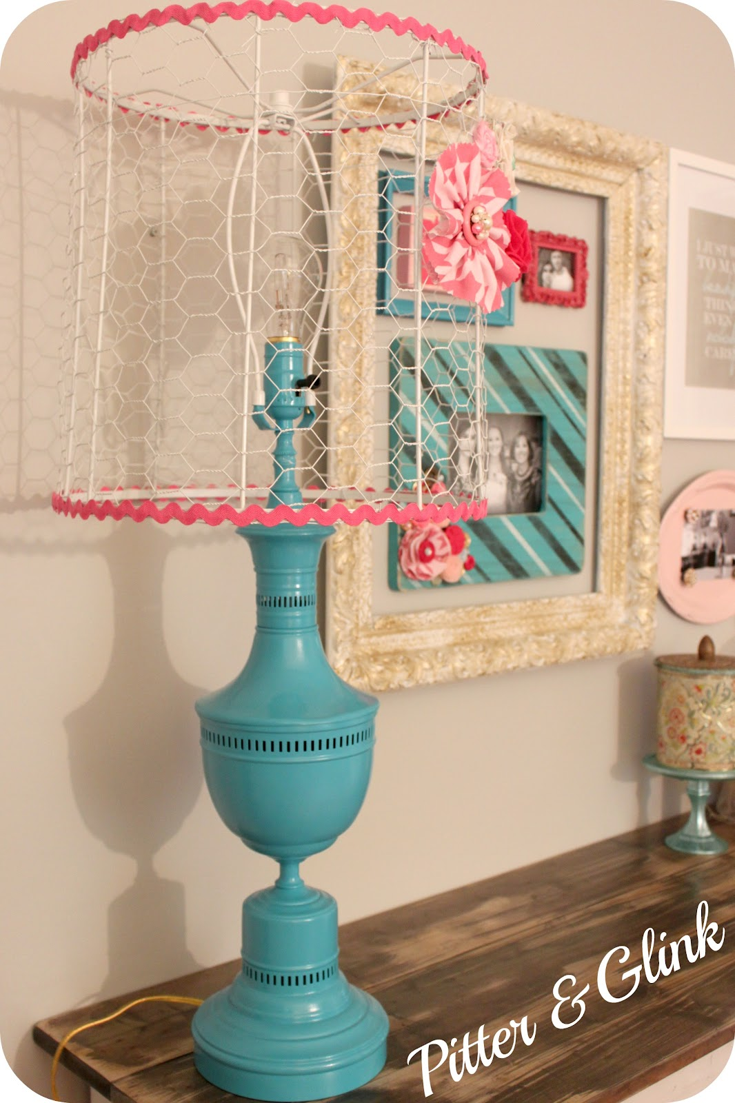 Pitterandglink craft room redo vintage lamp makeover for Redo lamp shades