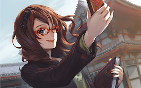 anime beautiful girl selfie phone picture wink smile hd wallpaper