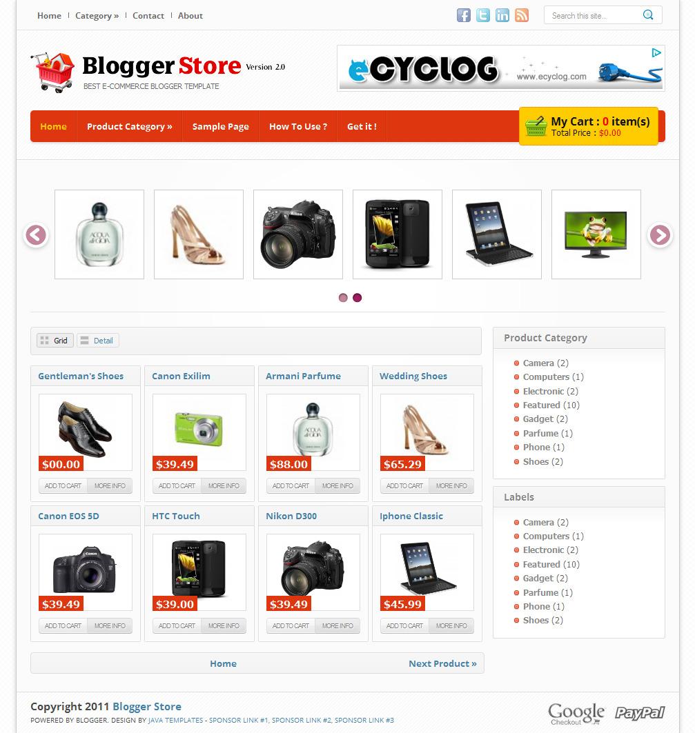 Free Premium Template Blogger Store V2