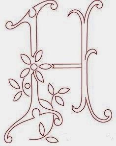 H flower calligraphy monogram tattoo stencils