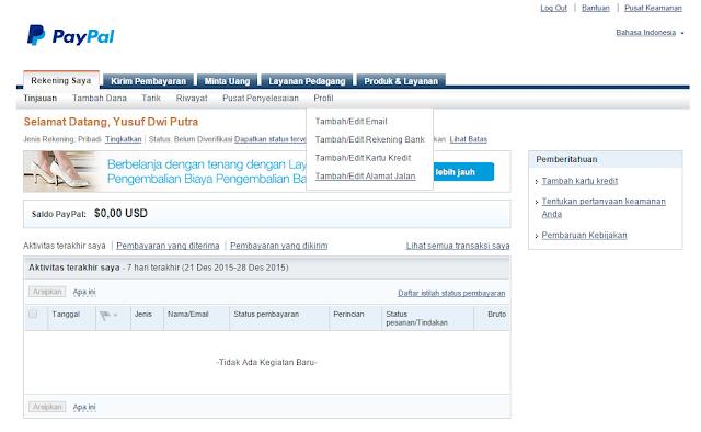 Cara Verifikasi PayPal Menggunakan Bank BRI