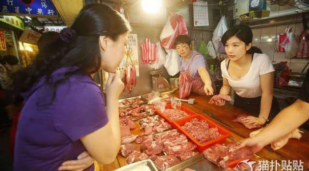 Wanita cantik penjual daging di Taiwan