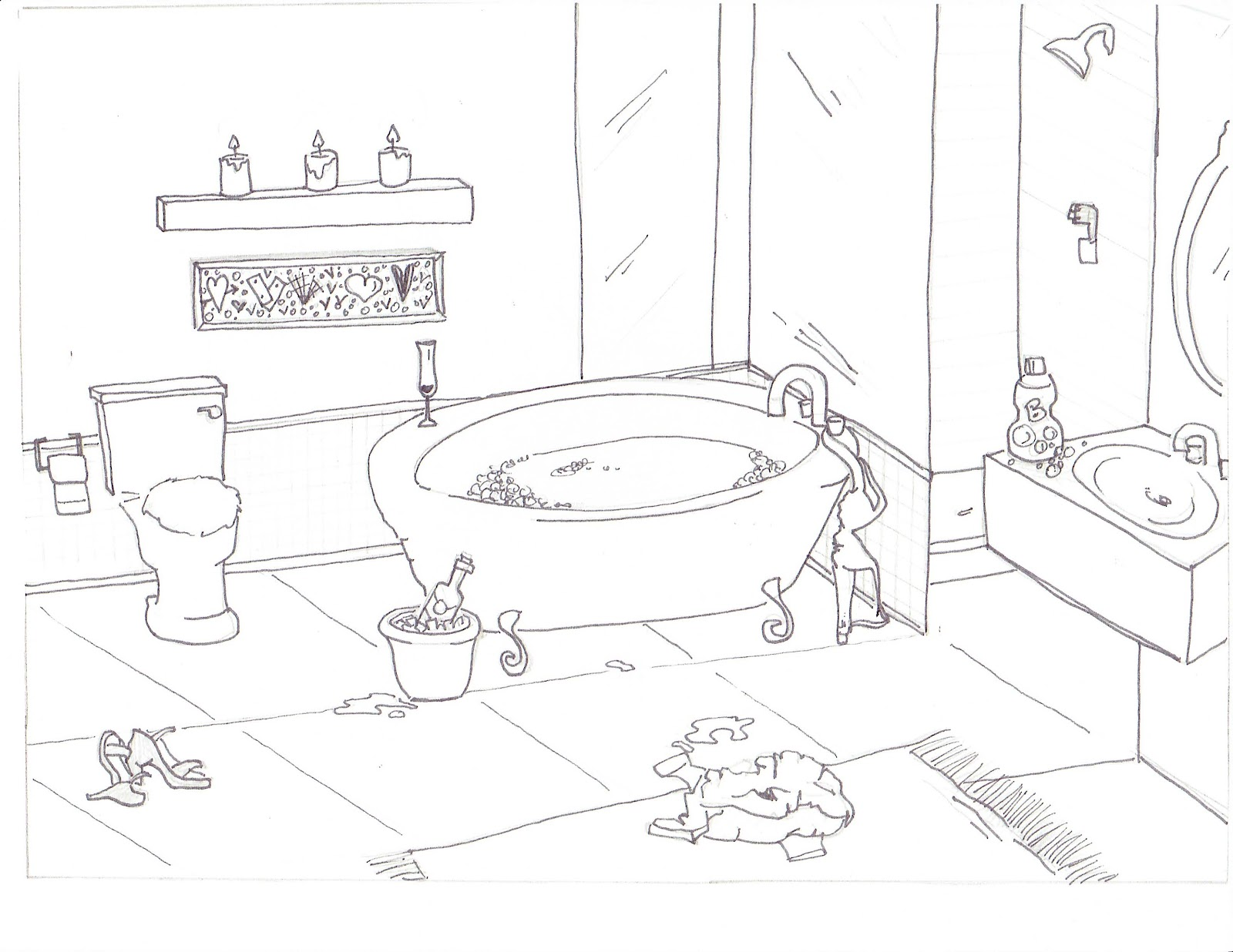 Bathroom perspective drawing - Sink Line Drawing Bathroom Line Drawing