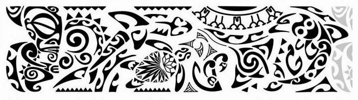 "Armband ""sea life"" Samoan tattoo stencil"