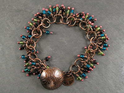 bead fringed bracelet w/ etched copper clasp