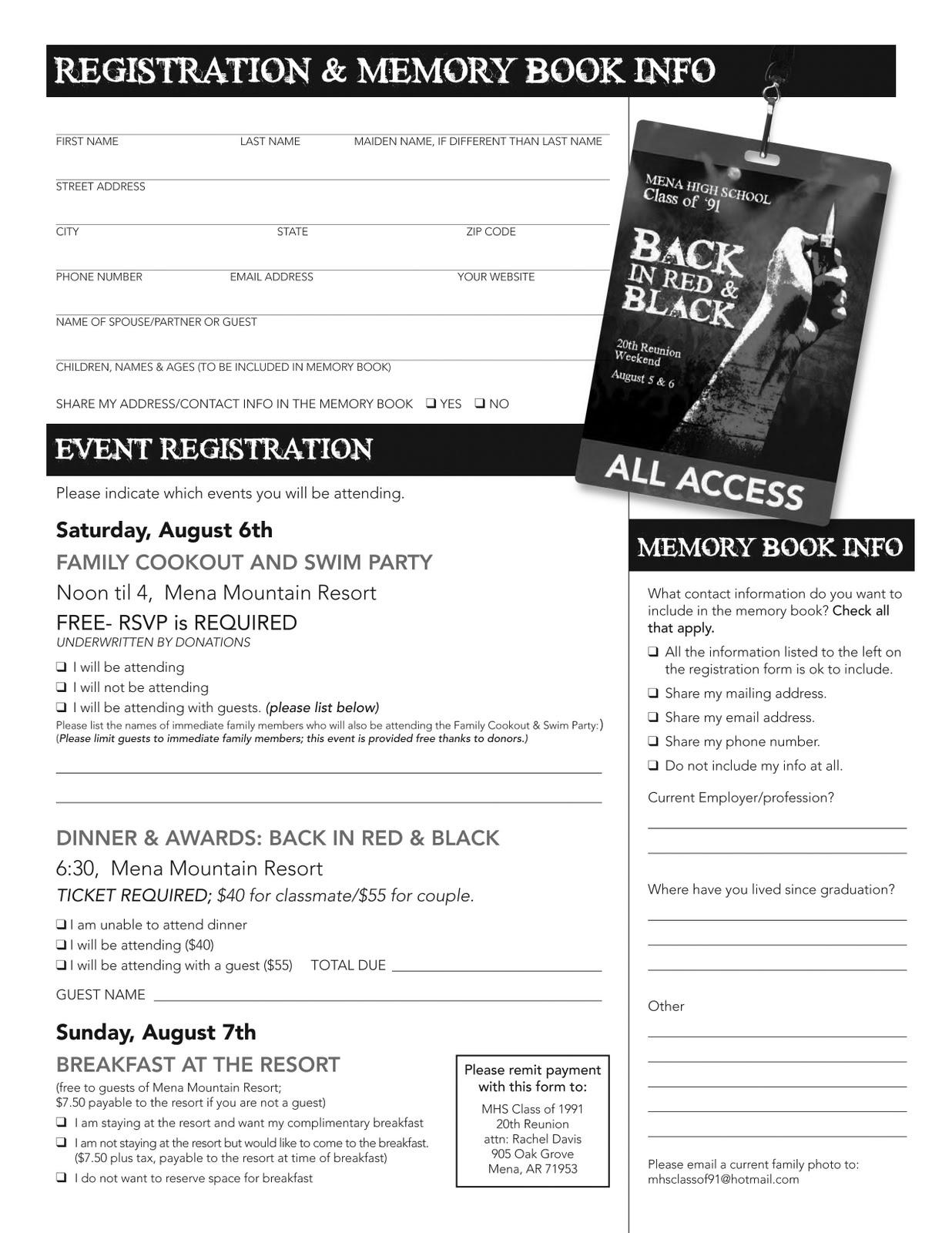 high school registration form template - high school reunion website template k 2018
