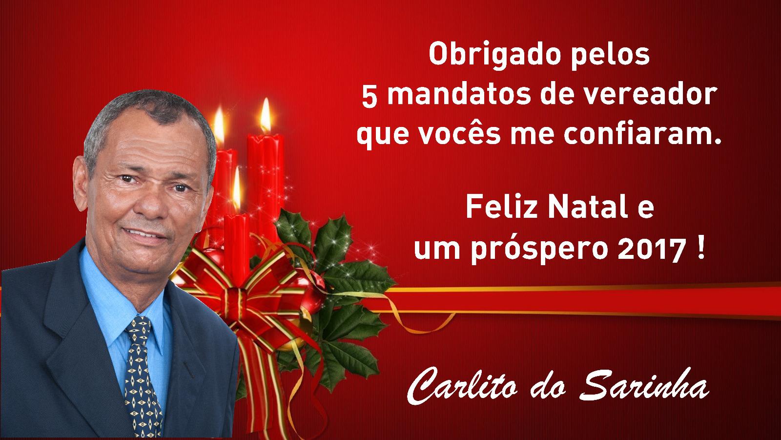 MENSAGEM DO VEREADOR CARLITO DO SARINHA