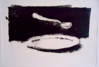 monoprint,mono print, print, mono, ink, paper, spoon, dinner, plate, dinner plate,