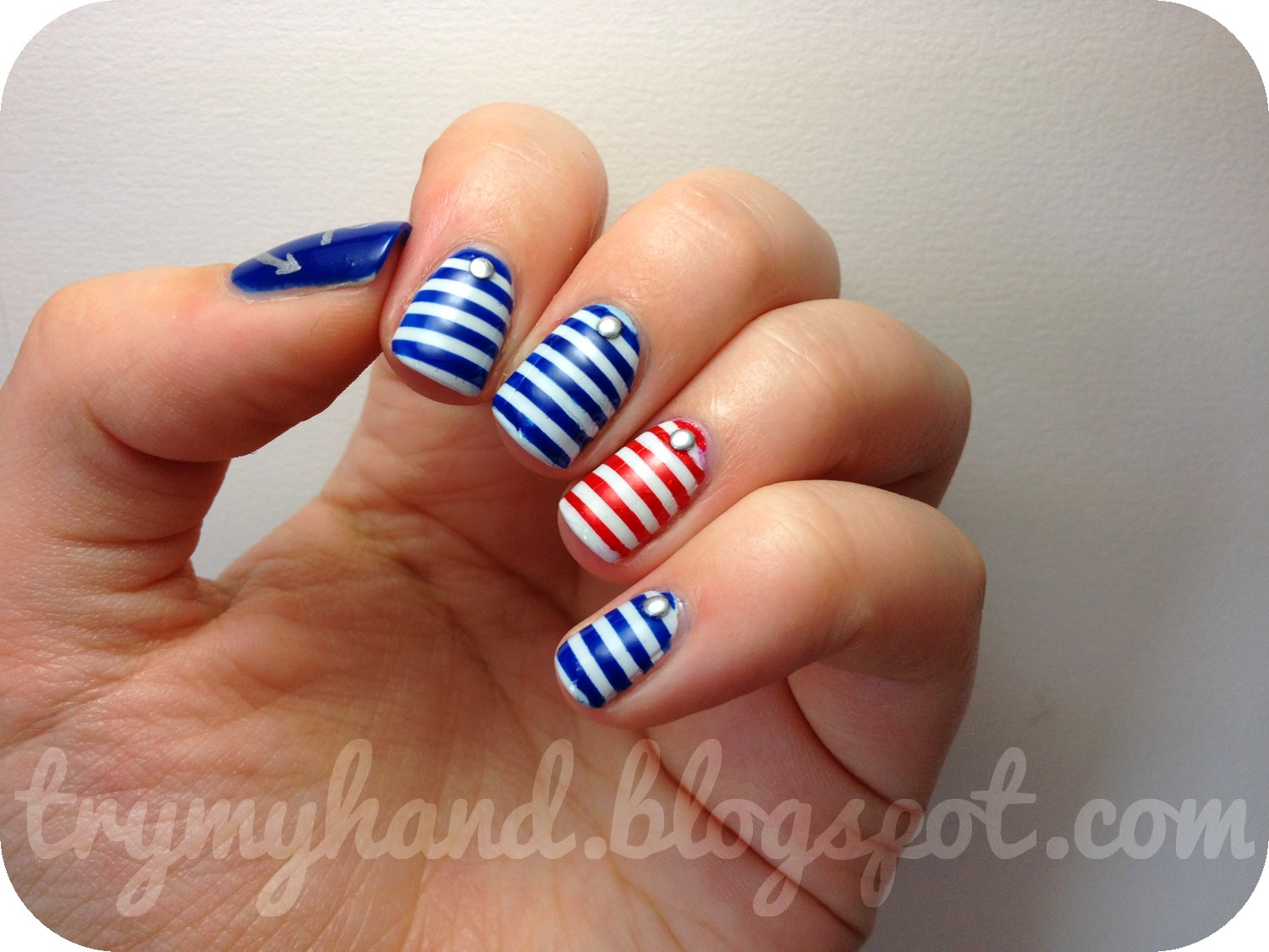Try My Hand Alphabet Nail Art Challenge N For Nautical