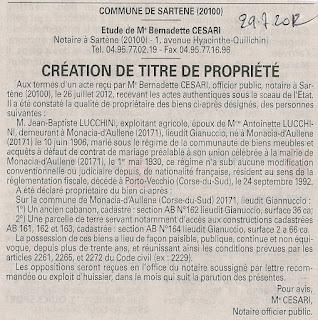 Lucchini Jean Baptiste Création titre propriété