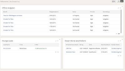 Screenshot der Startseite von Zoho CRM
