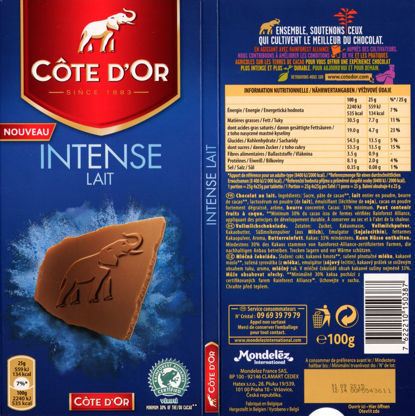 tablette de chocolat lait dégustation côte d'or intense lait