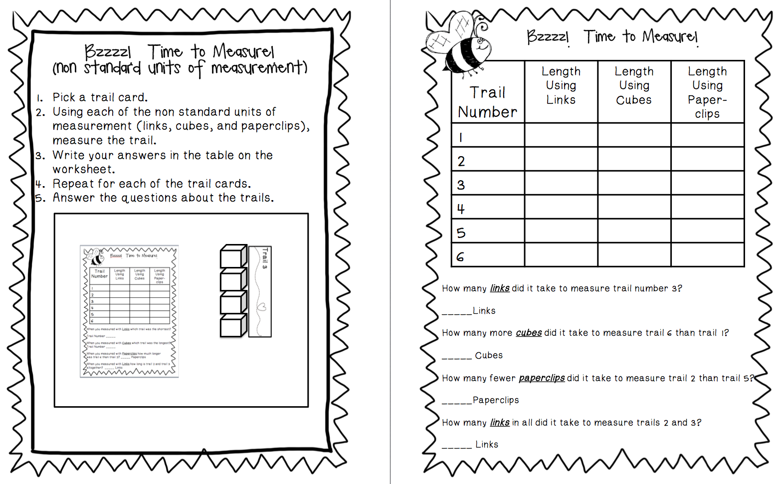 Worksheets Non Standard Measurement Worksheets first grade buddies manic monday 4 22 13 and a new product to measure links cubes paperclips non standard units of measurement this way you can pick the version that best fits your