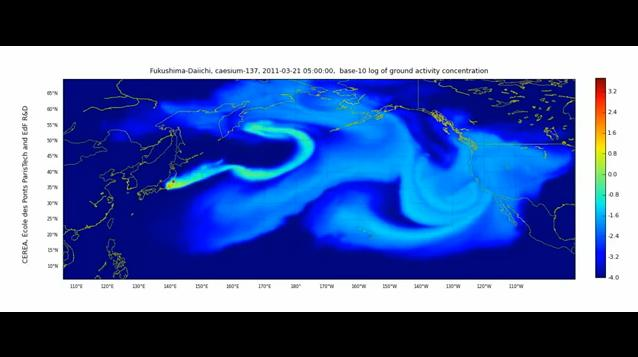 Fukushima Daiichi Nuclear Fallout Radioactive Cesium-137 Deposition Across the Pacific by CEREA Atmospheric Dispersion of Radionuclides Polyphemus Polari 3D model map