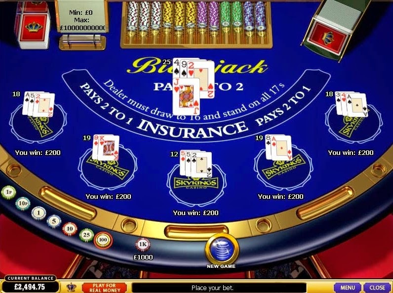 Skyking Casino Blackjack Screen